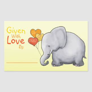 Cute Elephant Neutral Baby Shower Given With Love Sticker