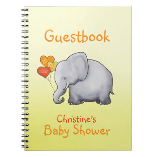 Cute Elephant Neutral Baby Shower Guestbook Notebook