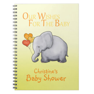 Cute Elephant Neutral Baby Shower Wishes for Baby Notebook