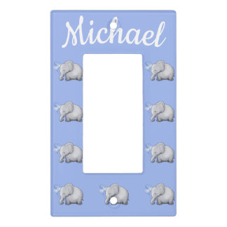 Cute Elephant Personalized Baby Boy's Nursery Room Light Switch Cover