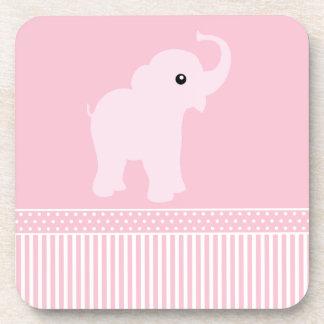 Cute Elephant polka dots & stripes pink coaster