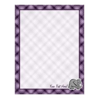 Cute Elephant; Purple Custom Letterhead
