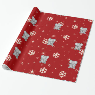 Cute elephant red snowflakes wrapping paper