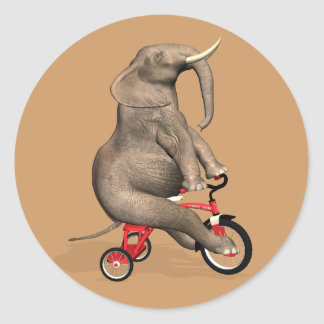 Cute Elephant Riding A Tricycle Stickers