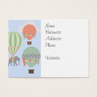 Cute Elephant Riding Hot Air Balloons Rising Business Card