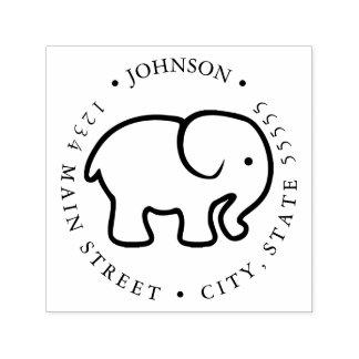 Cute Elephant Silhouette Return Label Self-inking Stamp