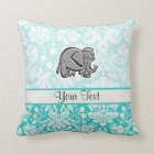 Cute Elephant; teal Throw Pillow