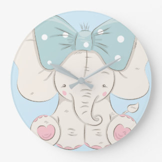 Cute Elephant with a Bow. Large Clock