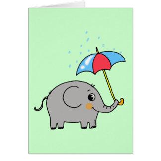 cute elephant with an umbrella card