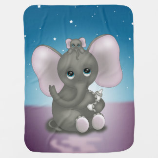 Cute Elephant with Baby Baby Blanket