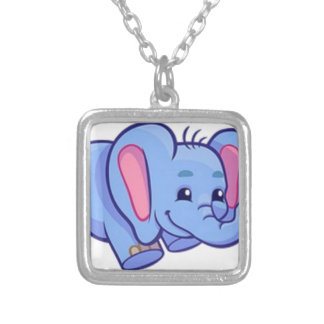 Cute Elephant with Flower Jungle Animal Kids Silver Plated Necklace