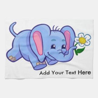 Cute Elephant with Flower Jungle Animal Kids Towel