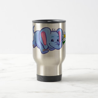 Cute Elephant with Flower Jungle Animal Kids Travel Mug
