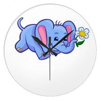 Cute Elephant with Flower Jungle Animal Kids Wallclock