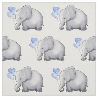 Cute Elephant with Heart Balloons Baby Boy Nursery Fabric
