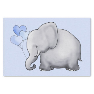 Cute Elephant with Heart Balloons Baby Boy Shower Tissue Paper