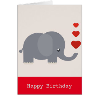 Cute elephant with hearts birthday love card