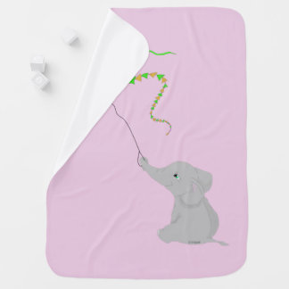 Cute Elephant with Kite Baby Blanket