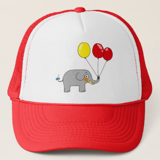 Cute elephant with party balloons trucker hat