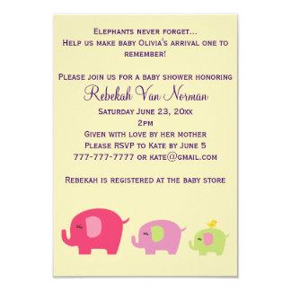 Cute elephants baby shower invitation