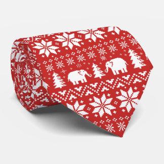 Cute Elephants Christmas Pattern Red Tie