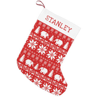Cute Elephants Christmas Pattern with Text Small Christmas Stocking