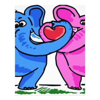 Cute Elephants holding a Heart Custom Letterhead