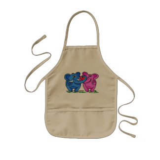 Cute Elephants holding a Heart Kids Apron