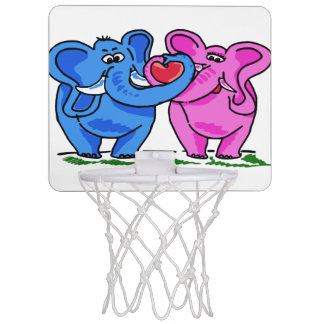 Cute Elephants holding a Heart Mini Basketball Hoop