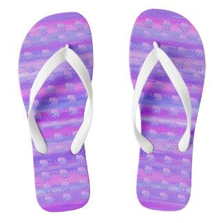 Cute Elephants on Purple and Pink Stripes Flip Flops