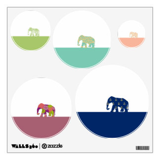 Cute Elephants on the Road Wall Sticker