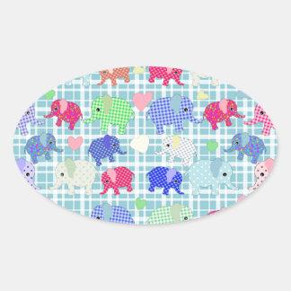 Cute elephants oval sticker