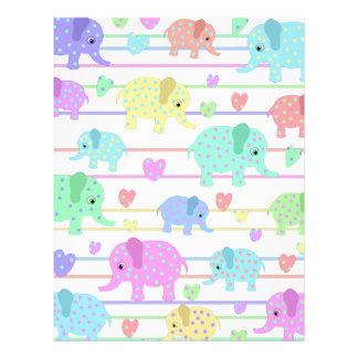 Cute elephants pattern custom letterhead