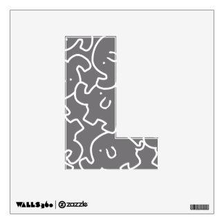 Cute Elephants Pattern Grey White 12X12 Letter L Wall Sticker