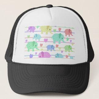Cute elephants pattern trucker hat