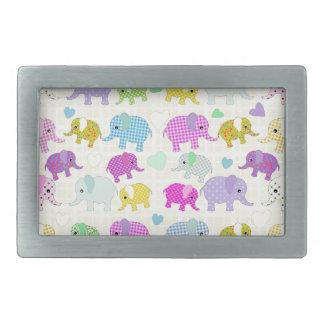 Cute elephants rectangular belt buckles