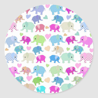 Cute elephants round sticker