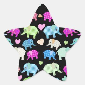 Cute elephants star sticker