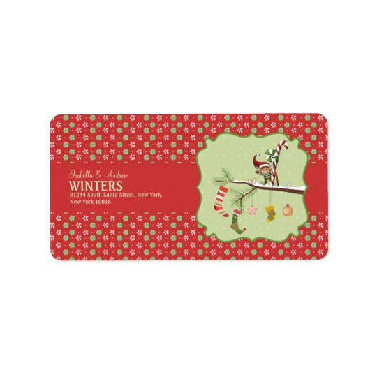 Cute Elf and Christmas Socks Label