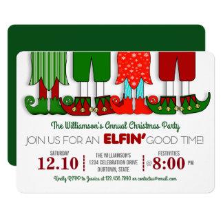 Cute Elf Christmas Party Invitations