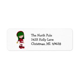 Cute Elf Holiday Return Address Labels