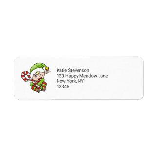 Cute Elf with Christmas Cane Merry Christmas Return Address Label