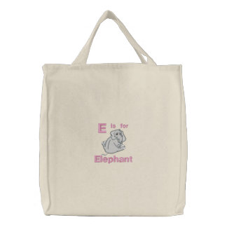 Cute Embroidered Baby Elephant, E is for Elephant Bag