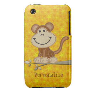 Cute Embroidery Monkey Personalized iPhone 3/3GS Case-Mate iPhone 3 Cases