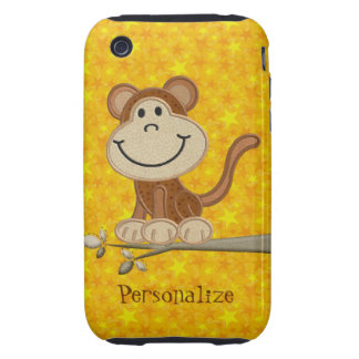 Cute Embroidery Monkey Personalized iPhone 3/3GS iPhone 3 Tough Case