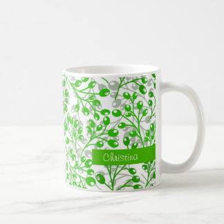 Cute emerald green autumn berries coffee mug