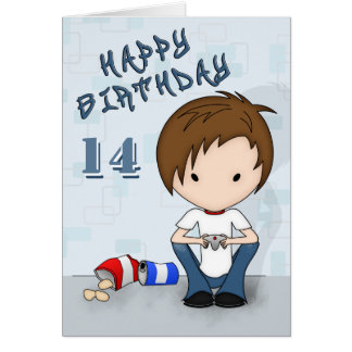 Cute Emo Boy Video Game Player Birthday Card