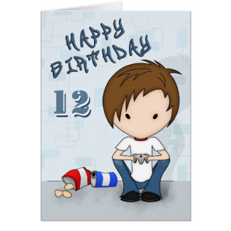 Cute Emo Boy Video Game Player Kids Birthday Card