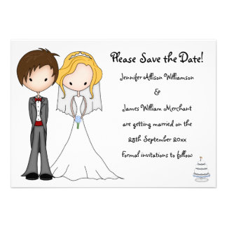 Cute Emo Bride and Groom Cartoon Save the Date Personalized Invites