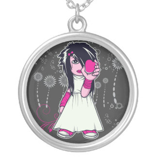 cute emo girl holding heart vector art silver plated necklace